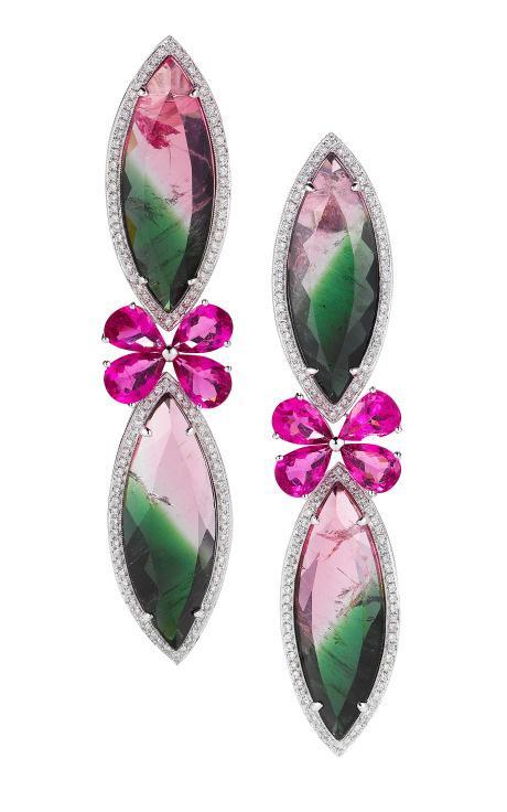 Dana Rebecca Watermelon Tourmaline, Rubellite, Gold And Diamond Earrings