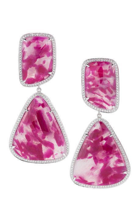 Ruby, Gold And Diamond Earrings by Dana Rebecca for Preorder on Moda Operandi