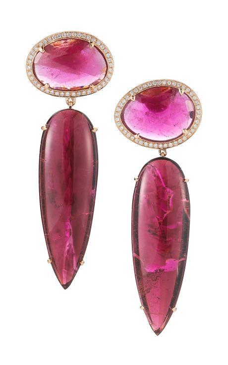 Pink Tourmaline, Rubellite, Gold And Diamond Earrings by Dana Rebecca for Preorder on Moda Operandi