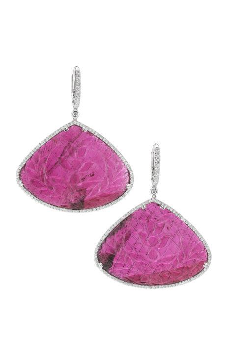 Carved Tourmaline, Gold And Diamond Earrings by Dana Rebecca for Preorder on Moda Operandi