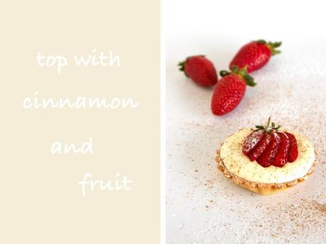 white chocolate mousse top with cinnamon and fruit