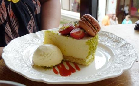 white chocolate delice with pistachio and strawberry macaron review at mrs bridges tea room leicester
