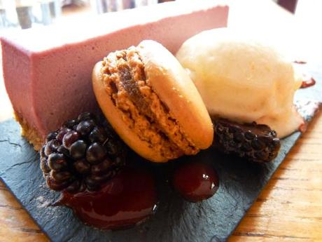 mrs bridges tearooms leicester review blackcurrant cheesecake with apple macaron and sorbet on black slate