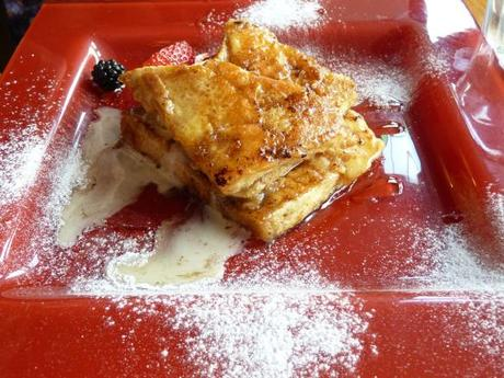 cinnamon french toast dusted with icing sugar at mrs bridges the lanes leicester