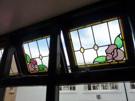 stained glass windows at mrs bridges tea room leicester