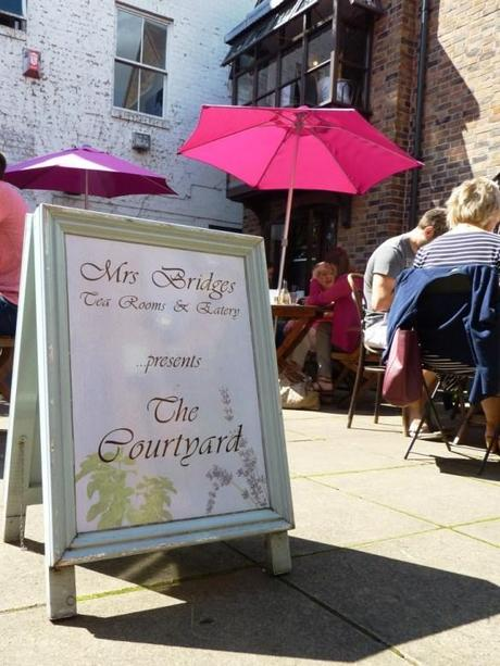 mrs bridges tea room leicester reviews the courtyard outside seating pink parasols