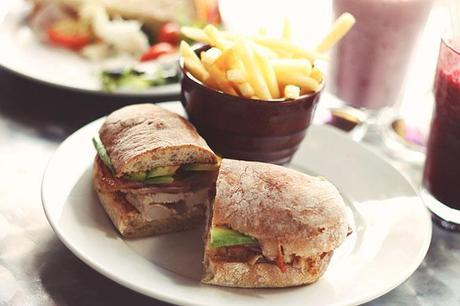 chicken bacon and avacado sandwich on ciabatta bread