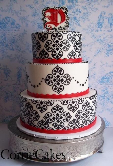 Red, Black and White Damask Wedding Cake