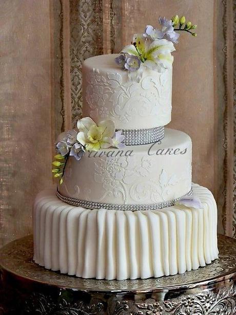 White Textured Wedding Cake