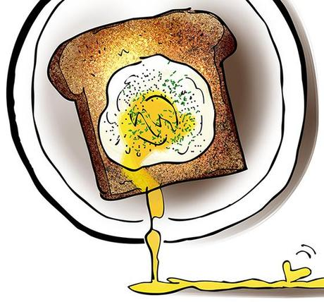 detail image of poached eggs on toast with stabbed yolks running off plates and merging together to form love heart for article about father and teenage son bonding over shared breakfast meal