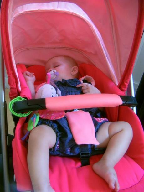 Little Miss A asleep in Maxi Cosi Loola with seat fully reclined
