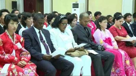 Korean and Cuban participants attend at an event marking the DPRK-Cuban solidarity month of August, held at the Taedonggang Diplomatic Club in Pyongyang on 13 August 2013 (Photo: KCNA screengrab).