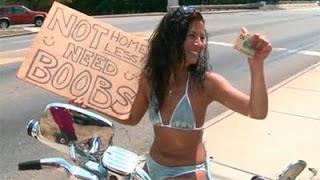 'Not Homeless, Need Boobs'- Panhandler Sign In Florida (Videos)