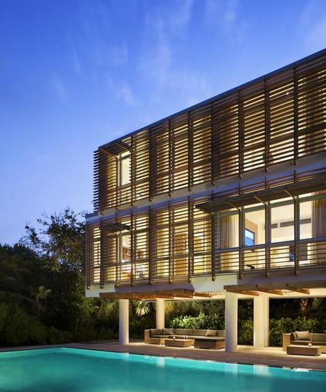 Modern louvered facade in ipe wood to a beach house in Sullivan's Island, South Carolina, by Stephen Yablon Architect.