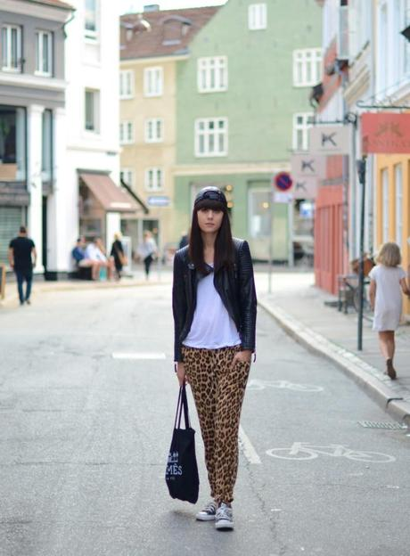 leopard zara loose trousers leather jacket