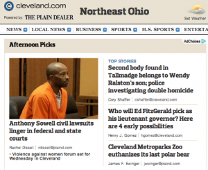 This afternoon's headlines on Cleveland.com focus on Anthony Sowell and murders in Tallmadge. The Plain Dealer and Cleveland.com are facing similar challenges to the ones Mafra publications are dealing with.