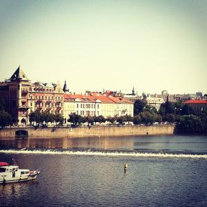 First views of Prague from the Charles Bridge.