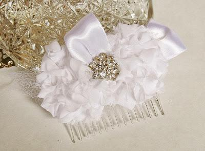 New Chiffon & Rhinestone Hair Flower at FancieStrands