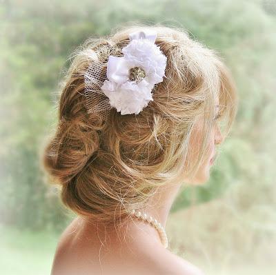 New Chiffon & Rhinestone Hair Flower at FancieStrands