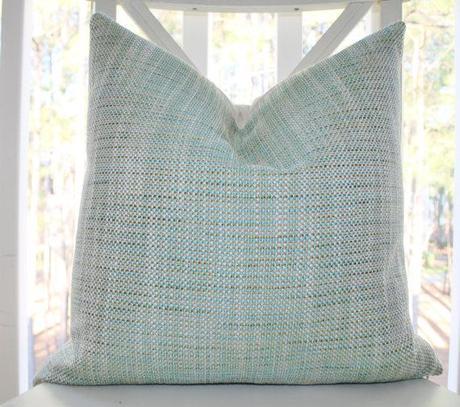 Decorative Pillow Cover - Aqua Blue Green Ivory Woven Pastel Pillow Cover - Teal Blue Green Throw Pillow