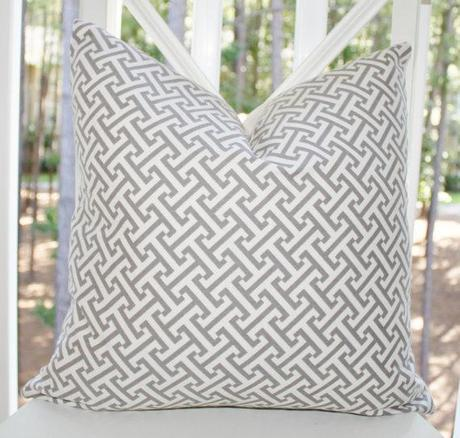 Decorative Pillow Cover - Grey Cross Section Charcoal Geometric Pillow Cover- Throw Pillow