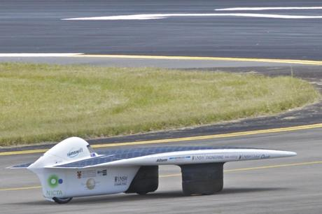 Sunswift IVy during the World Solar-Car Speed Record attempt. (Credit: Bradhall71 http://en.wikipedia.org/wiki/File:Sunswift_IVy.jpg)