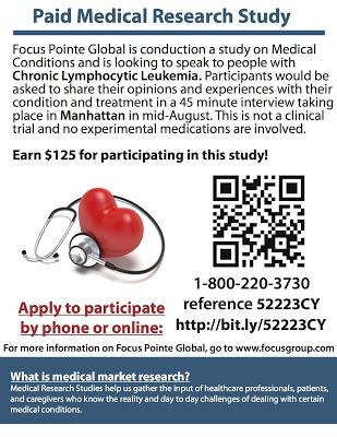 Paid Opportunity to Be Interviewed about CLL in Manhattan