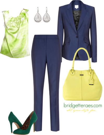 Navy Suit with Lime Touches