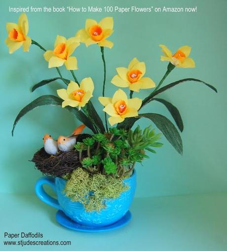 Paper flowers daffodils tutorial diy how to make 100 paper flowers make paper daffodil tutorial mightylinksfo