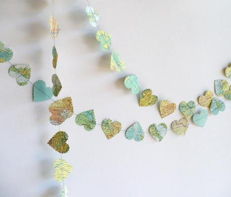 Heart Garland with Maps