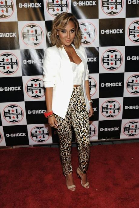 Adrienne-Bailons-G-Shock-Shock-The-World-2013-White-Corset-Blazer-and-Topshop-Animal-Print-Skinny-Trousers