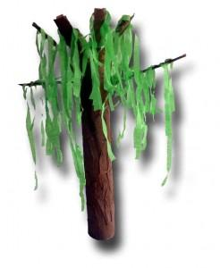 Tube and Crepe Paper Draped Tree