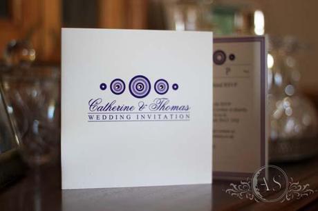 Bari bespoke trifold wedding invitation in purple