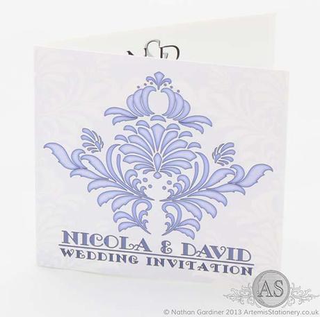 Brescia purple wedding invitation card