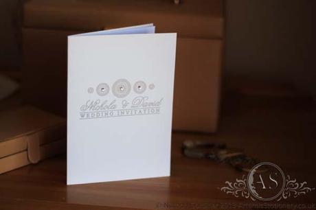 Bari bespoke wedding card invitation in pastel peach