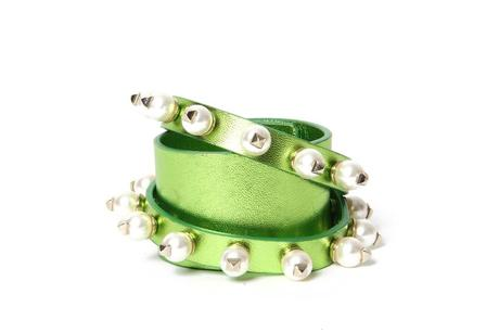 Valentino Rockstud pearl leather wrap cuff