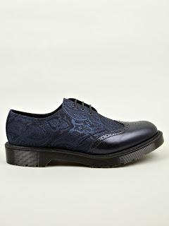 The Paisley Paradox:  Dr. Martens Navy Blue MIE Dannon Paisley Silk Shoe