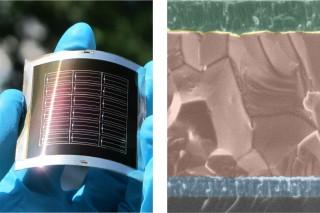 CdTe solar cells on a flexible metal foil (left) and electron microscopy (EM) image of the solar cell structure in the substrate configuration (right) with front electrical contact (uppermost layer), central CdTe layer and metal back contact (lowest layer), all deposited on the substrate (glass is used as an example for ease and clarity of EM imaging). (Credit: See citation at the end of this article)