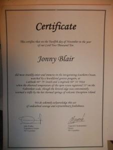 antarctica swimming certificate