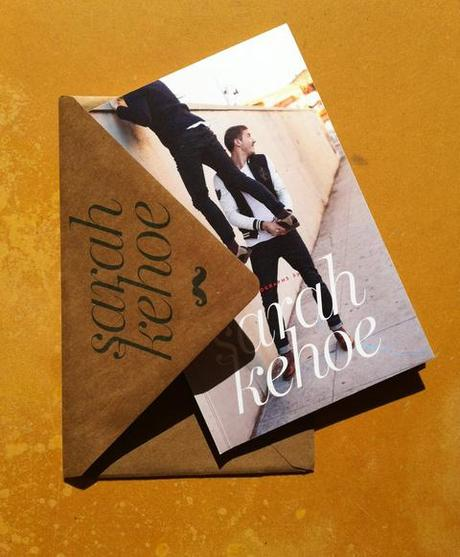 Front cover and envelope of Sarah Kehoe's photography promo booklet. love couple wall lifestyle models fashion