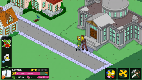 Ned is in double trouble here, not only is this guy beating him up in front of Burn's mansion, look to the left...there is a machine gun pointed at him too!