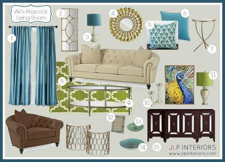 E Design: A Peacock   Inspired Living Room