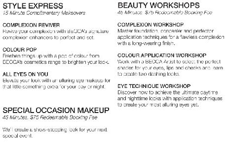 BECCA makeup services menu