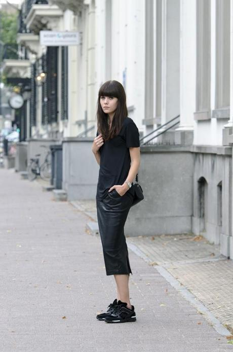 outfit black leather pencil skirt chanel sneakers
