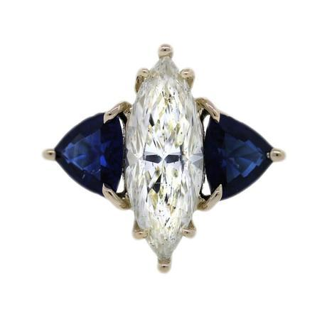 EGL 3.06 ct Marquise Diamond and Sapphire Engagement Ring