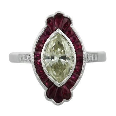 Light Yellow Marquise Cut Diamond Platinum Ruby Engagement Ring