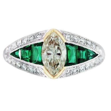 Diamond Emerald Platinum Yellow Gold Vintage Style Engagement Ring