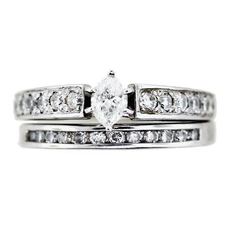 1/2 Carat Diamond Engagement Ring and Wedding Band Set Marquise Cut