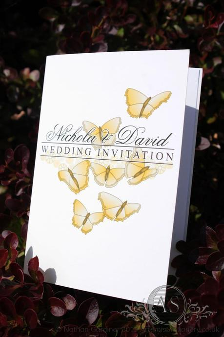 Naples small card wedding invitation featuring butterflies gold