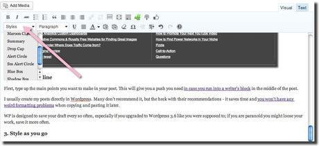 how to style blog post in post editor